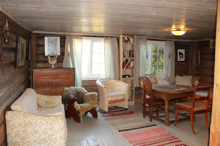 koselig rom+stua midt på sauegård.