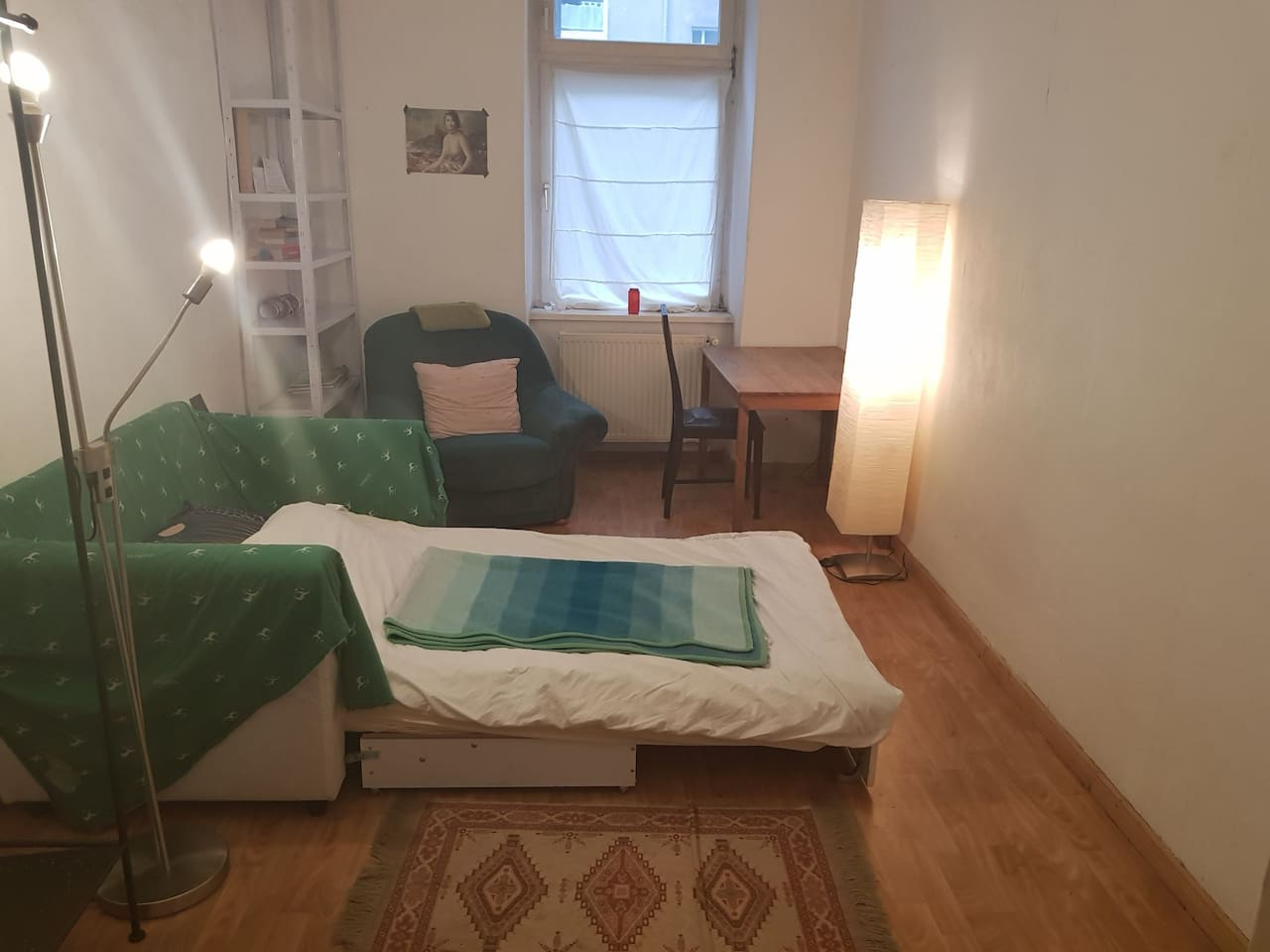 Your room, minimal and calming.    There's a clothes hanger out of shot , don't worry