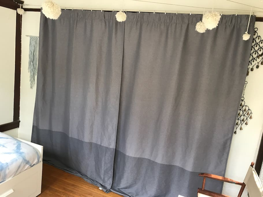 Blackout curtains.