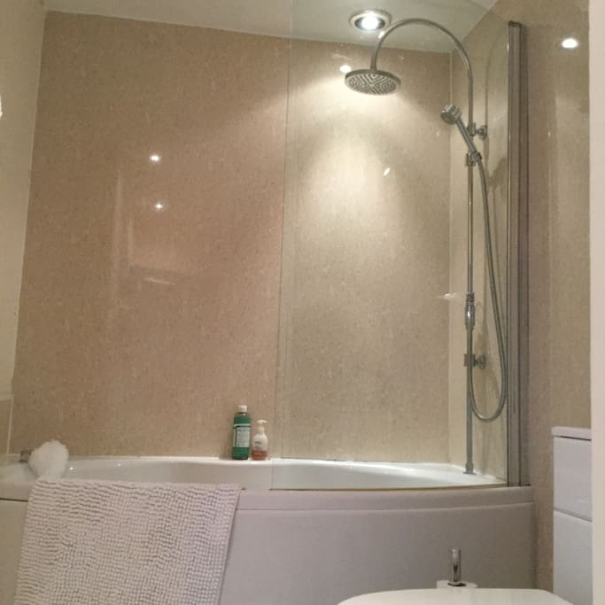 Shared bathroom with bath and shower