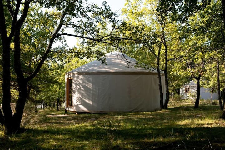 Comfortable wooden yurt 1-heated swimming pool
