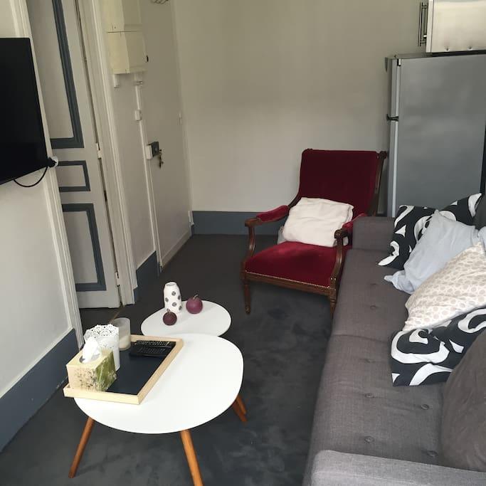 Salon tout confort, canapé, fauteuil et deux tables basses.  Télévision avec chaine numéricable.