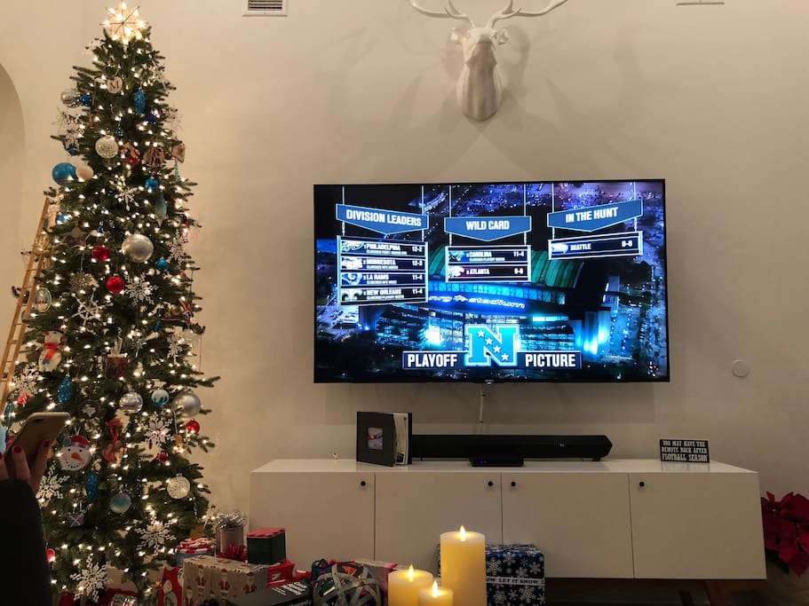 """New 75"""" 4K TV and entertainment center"""