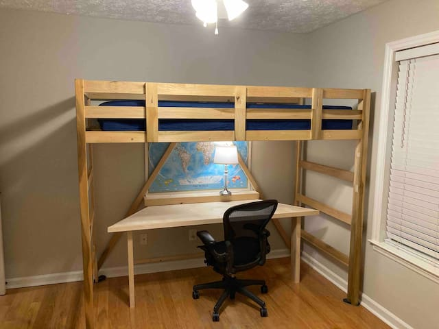Bedroom 3 is a flexible space with a twin loft bed, a twin Murphy/ wall bed, and a deluxe queen air mattress (upon request). It can sleep up to 4 comfortably. Or it can serve as a spacious office space!  Or something in between!