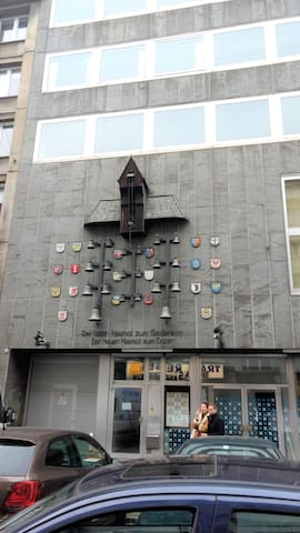 historical memorial in front of the apartment
