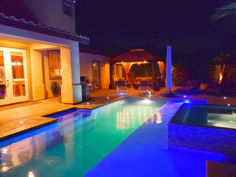 Private Pool and Spa - LED concrete lighting