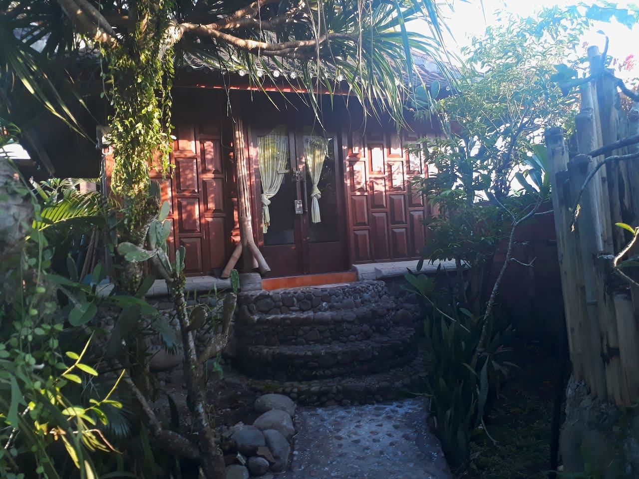 front of the Private Wooden Bungalow