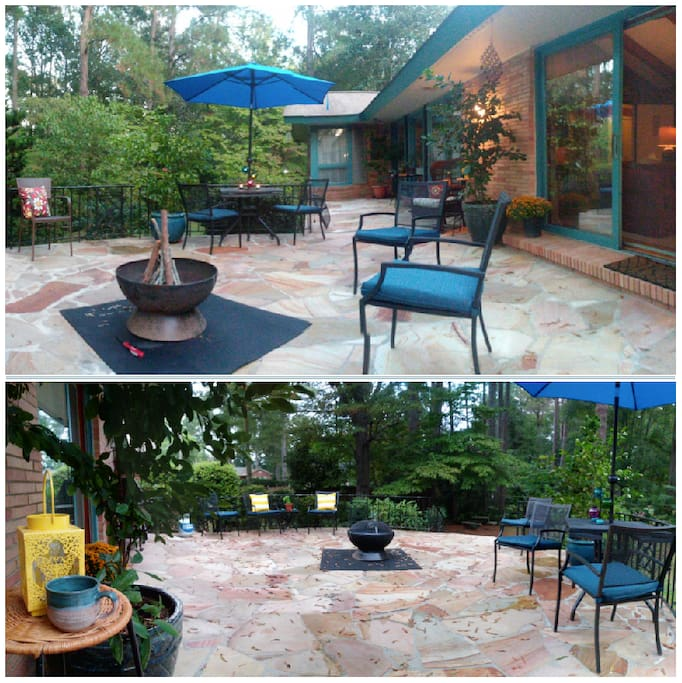 Backyard Patio Area- Firepit, Gas, and Charcoal Grills Available