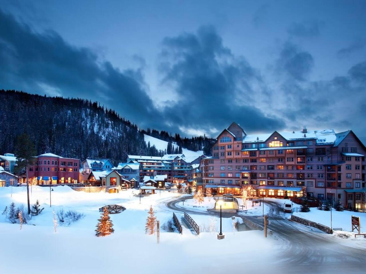 View from condo amenities deck toward Winter Park Village and ski runs