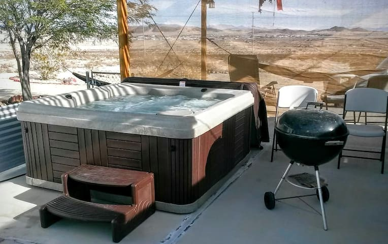 Relax in the Six person hot tub.
