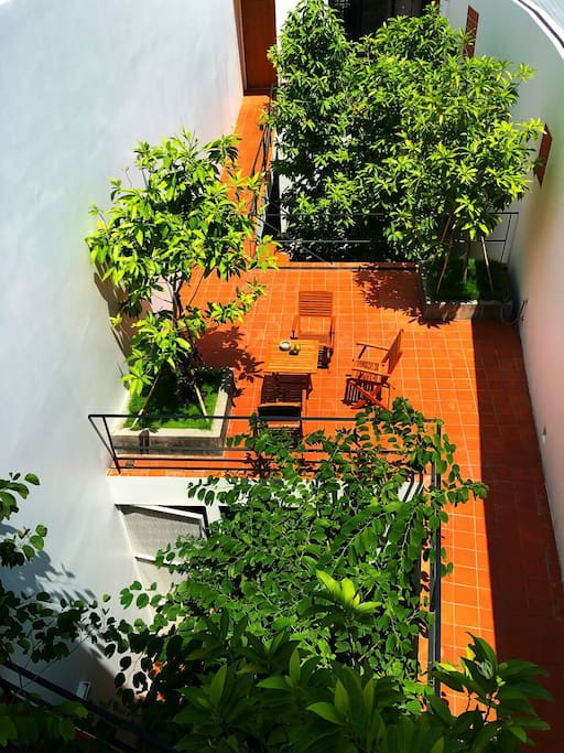 All rooms look into a central courtyard, it's a nice contrast to the hustle & bustle of Saigon.