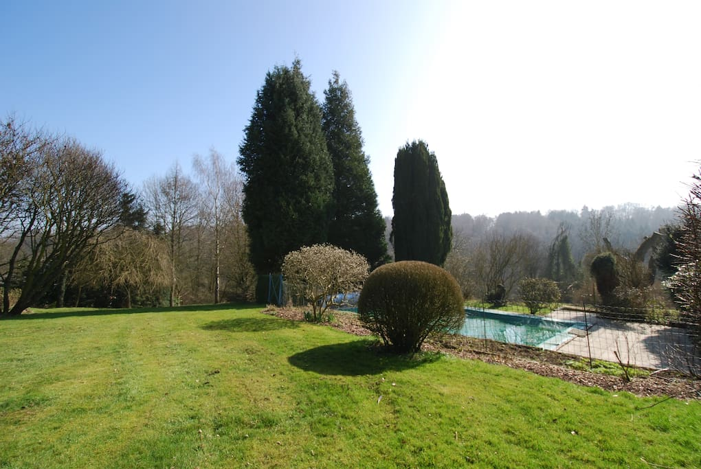 From the right side of the top garden overlooking the pool