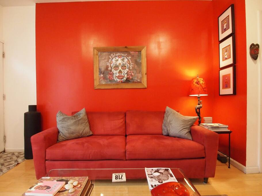 Bright art filled living room