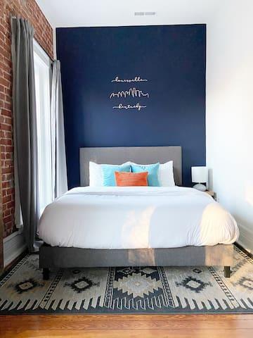 Queen bed, memory foam mattress