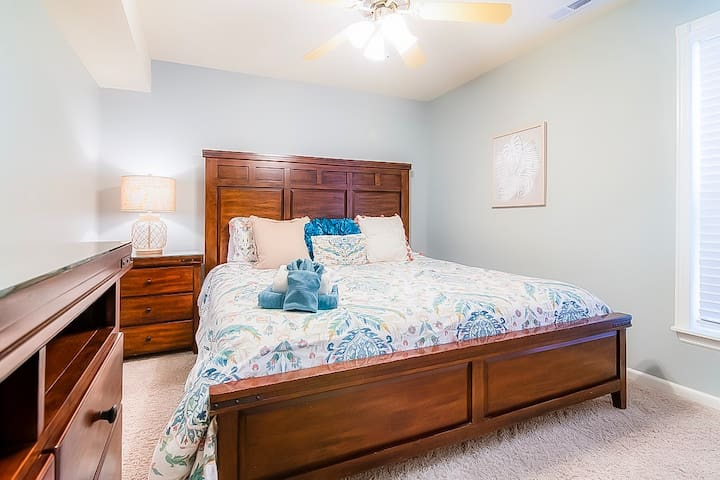 All of the bedrooms have comfortable king size beds so no one will have to fight about rooms!