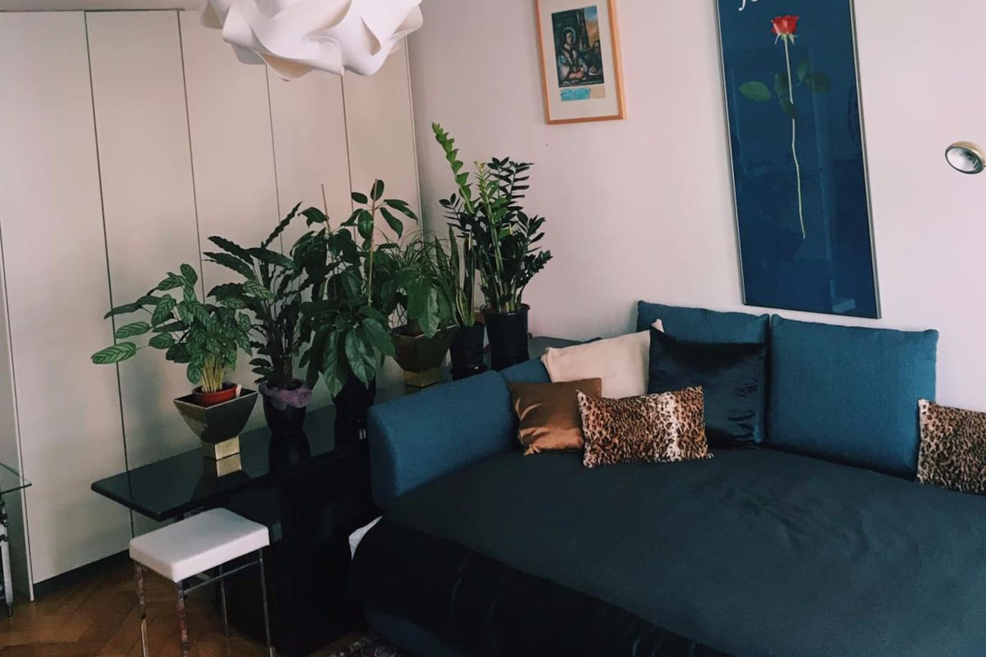 living room with  big size bed for  two