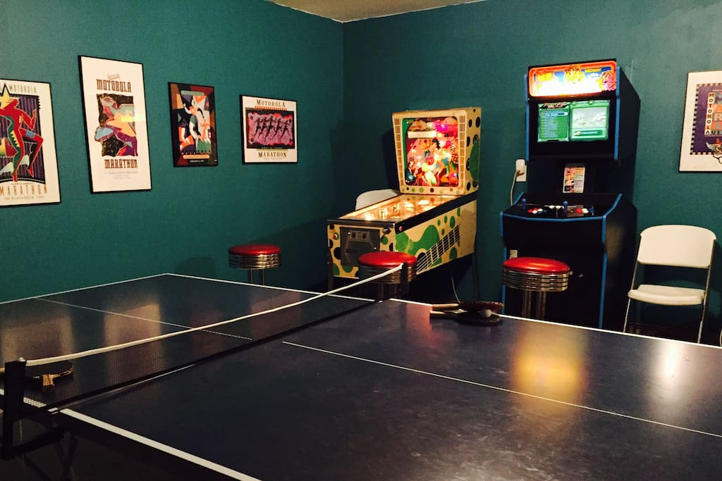 Huge Game Room (converted 3 car garage) with ping pong, pinball, arcade, air hockey, and darts