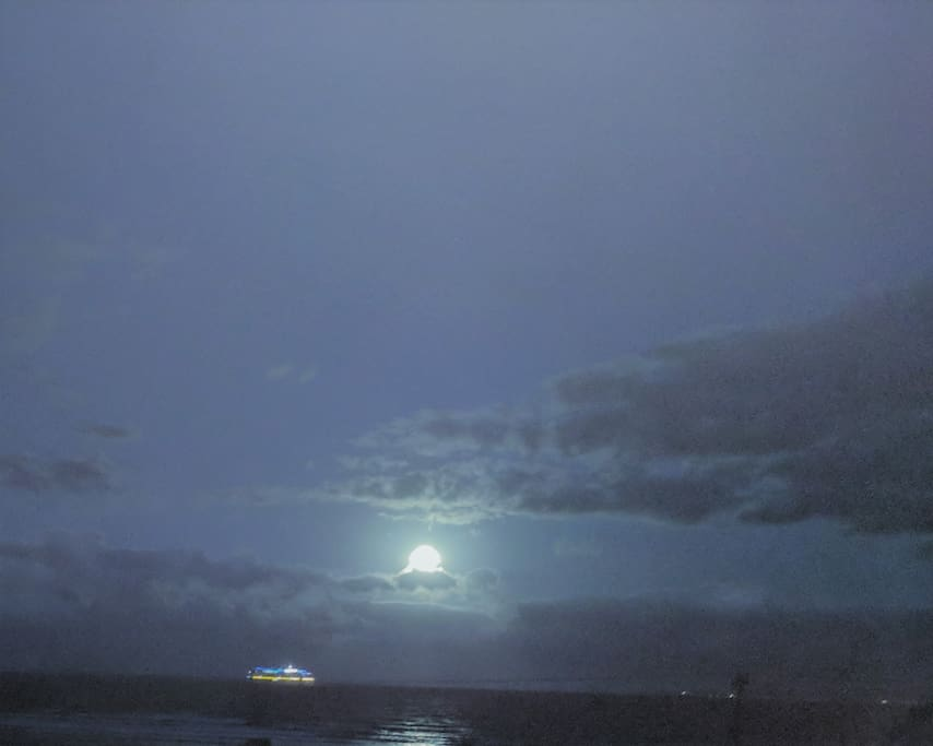 Full Moon over Cruise Ship from your Lanai