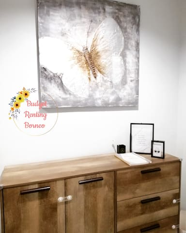 Living Room Area -Charging/Laptop station -Cabinet with Child safety lock