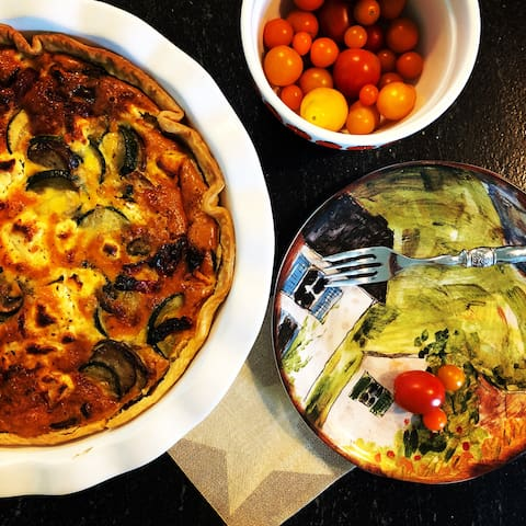 We make our quiche with farm-fresh vegetables and fresh farm eggs.