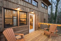 Back deck lit up!  Have a cup of coffee to start your day or glass of wine to unwind at the end!