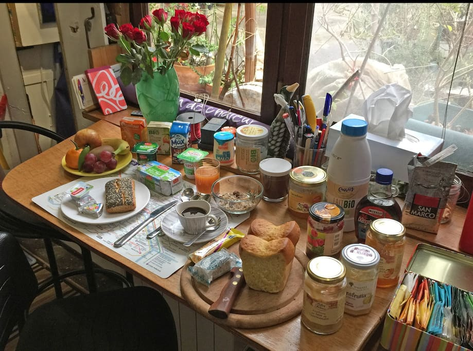 Help yourself to breakfast. I should have something, whatever your taste.