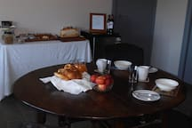Breakfast ready to be consumed at your leisure. Of course breakfast can also be served outside.