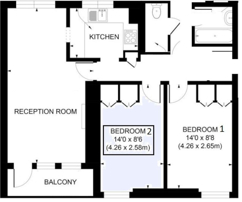 Guests will have exclusive access to bedroom 2 and shared access to bathroom, WC, kitchen and reception areas