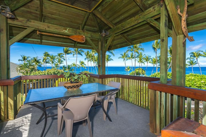 Image of an outdoor seating area on a lanai with a large ocean view from a villa in Hawaii.