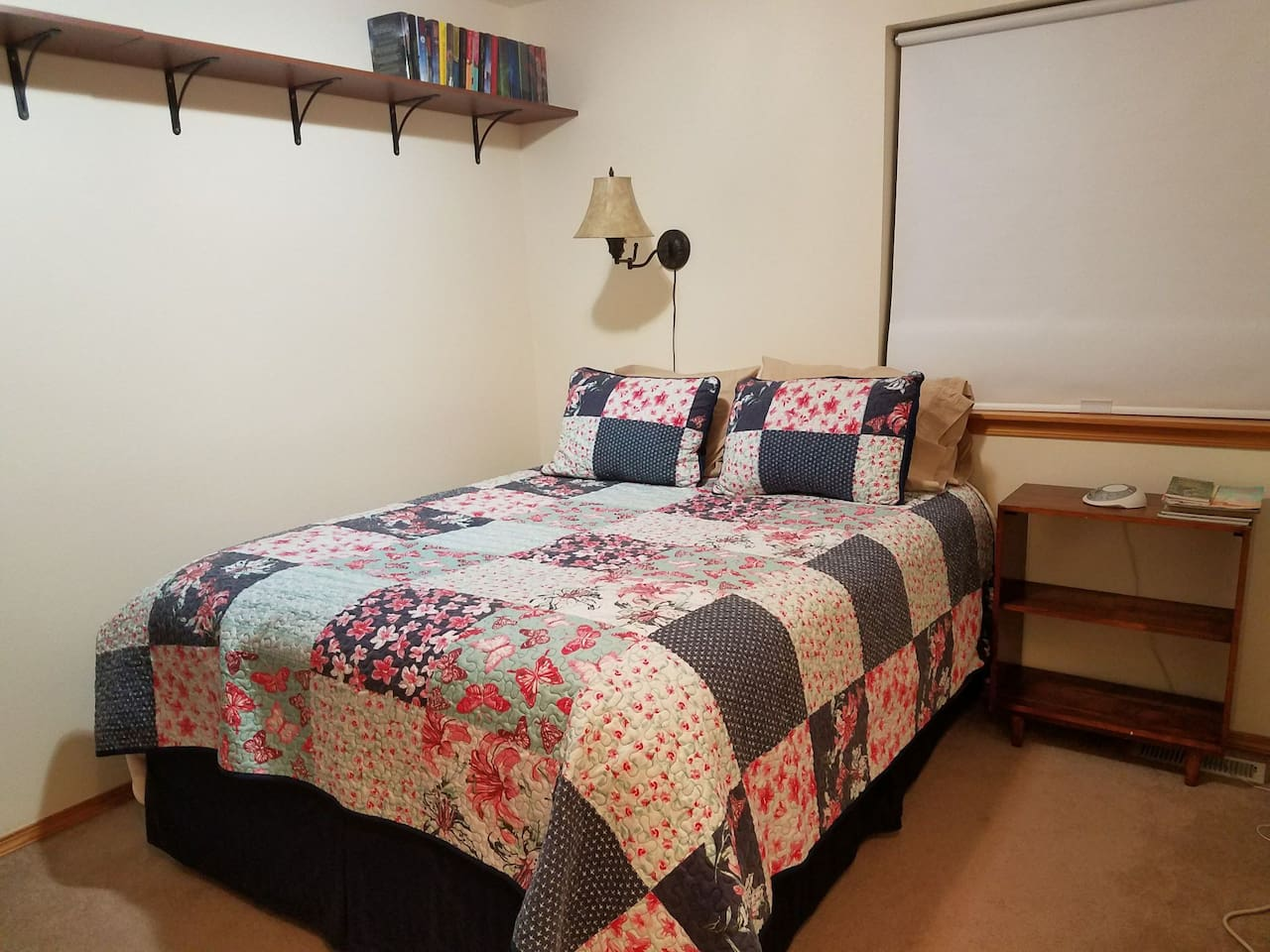 Comfortable queen size bed with pillow top mattress