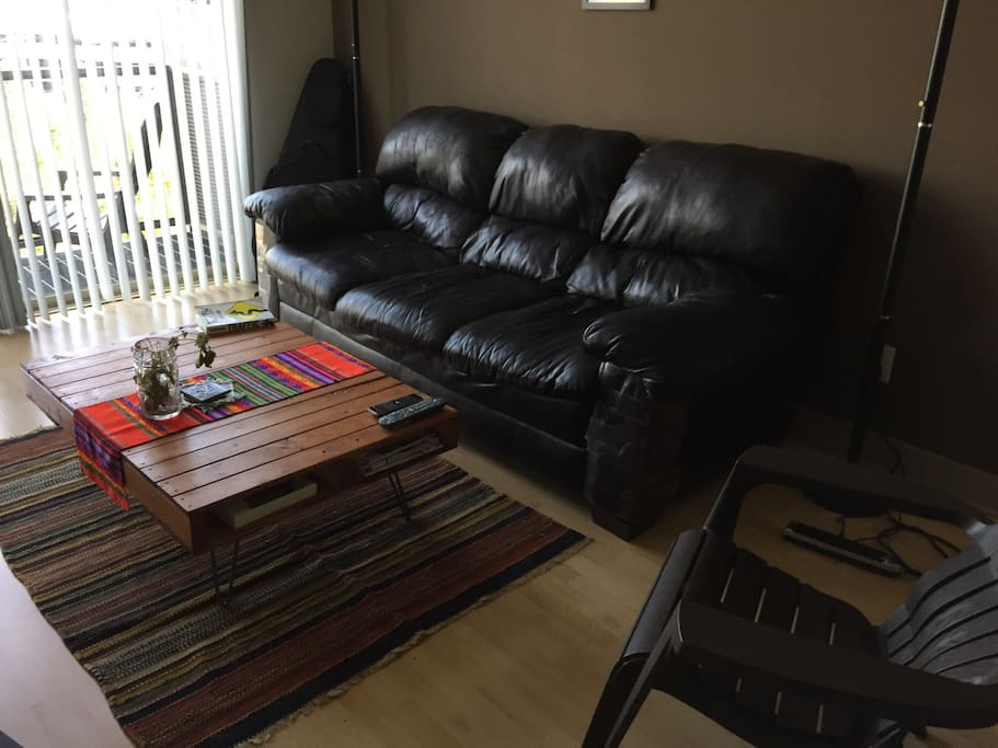 Comfy couch and coffee table.