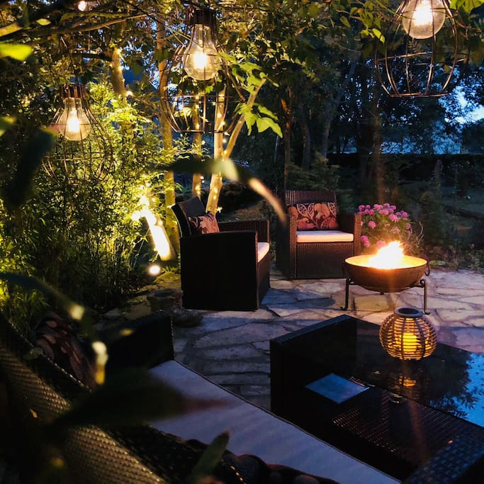 Private patio with Indian Fire Bowl