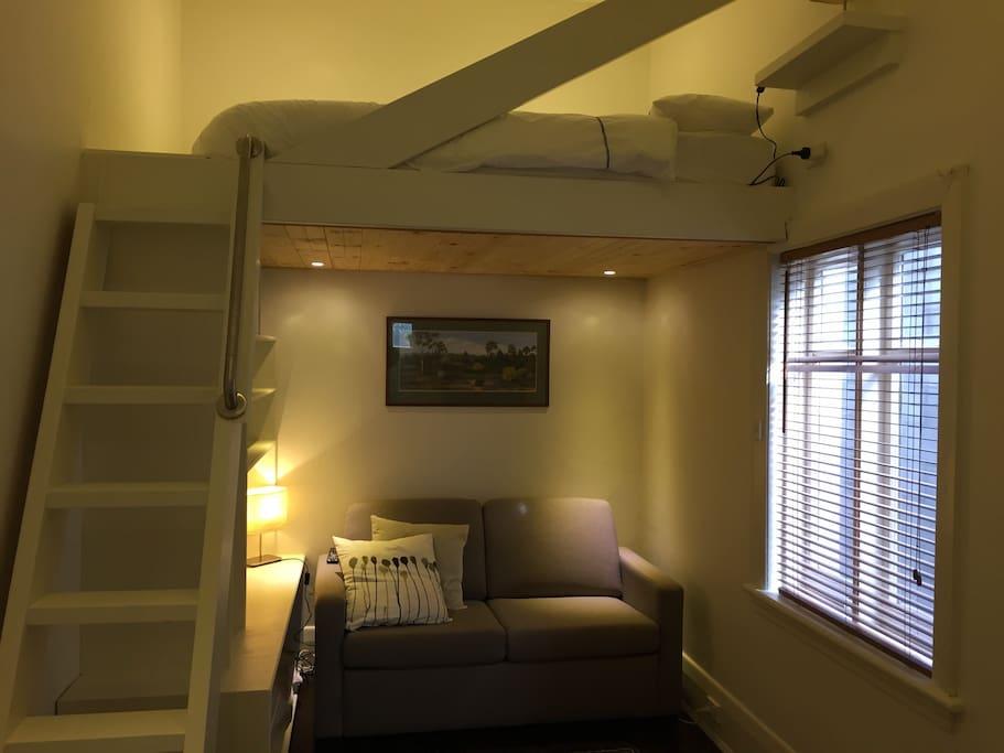 Mezzanine queen bed upstairs