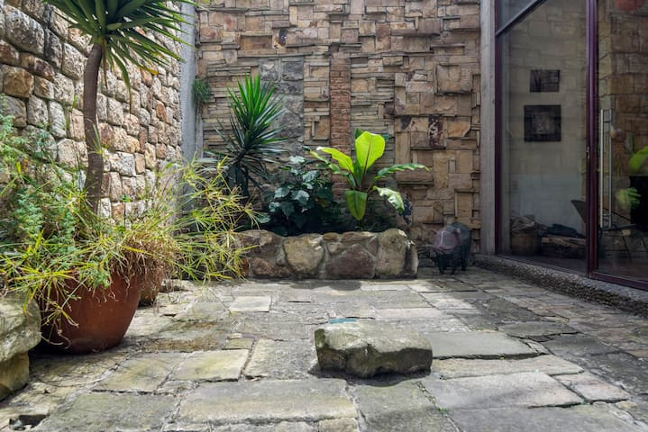 This is the private patio of the apartment, looking towards the extraordinary stone wall behind the plants.