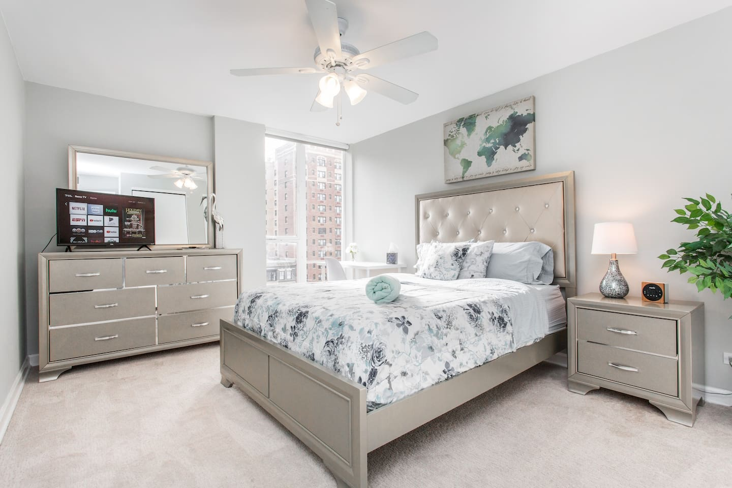 Enjoy your private bedroom with an extremely comfy queen bed, desk space, and Smart Tv.