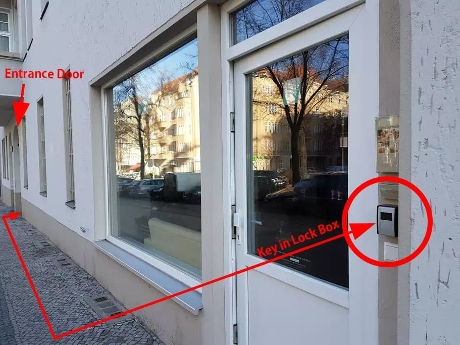 Lock Box at the door of PAS Wellness Hausnr. # 67. Here are the keys deposited for you:) Entranse of the Apartment is Hausnr. #68.