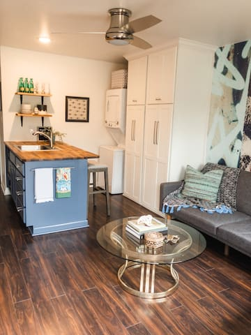 Open floor plan opens up kitchen and living space.  Washer and dryer available for your convenience and plenty of pantry space for longer stays.
