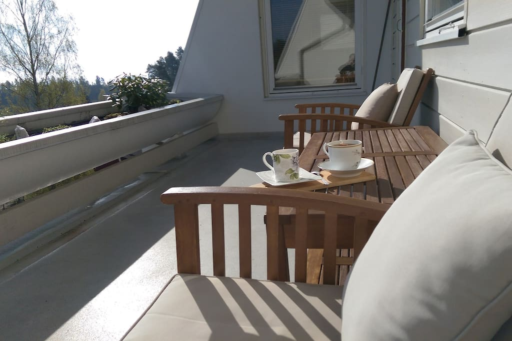 14 m2 eastside balcony with panorama view of Oslofjord and surrounding area.