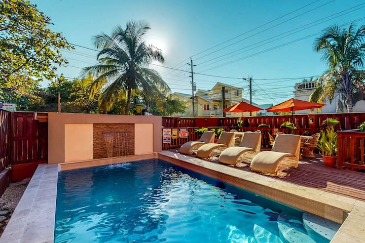 Homey suite w/ shared pool & veranda in San Pedro town - walk to the beach!