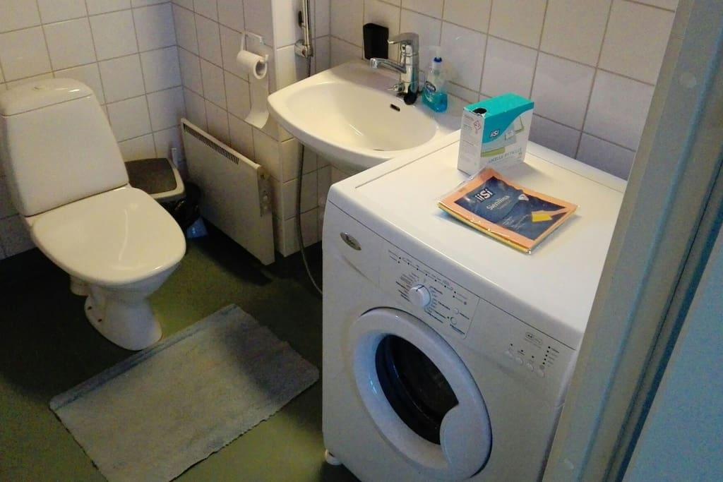 Laundry and bathroom