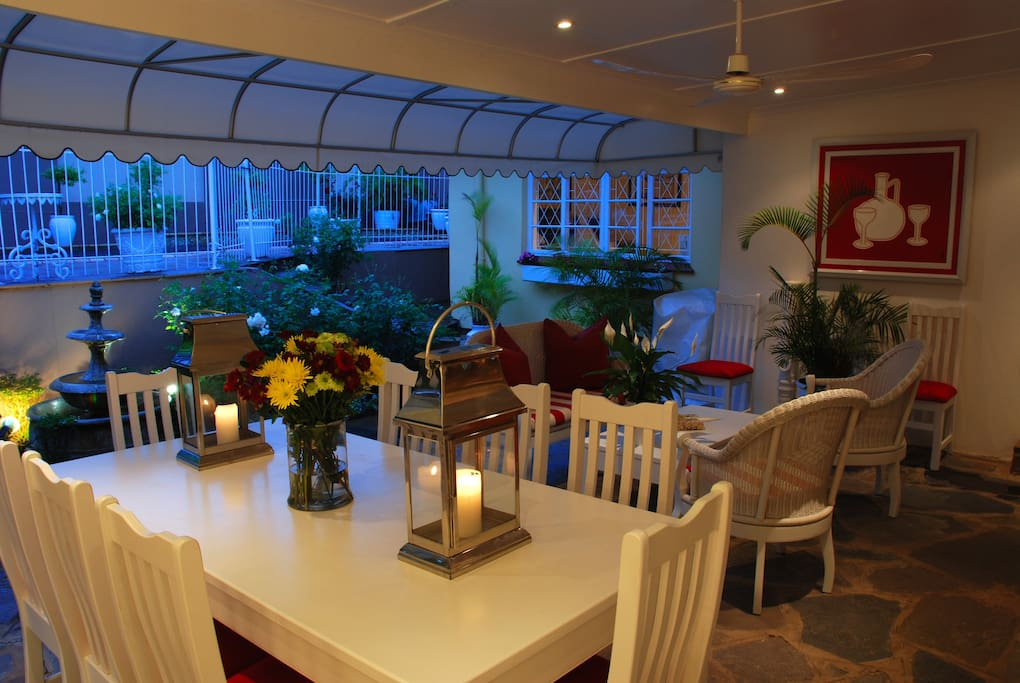 A pleasant area to relax and enjoy a sun downer, evening meal or barbeque