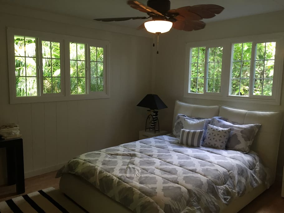Master bedroom borders huge expanse of conservation land. has attached bathroom. Large closet, luggage rack, hangers, air conditioning in every room.