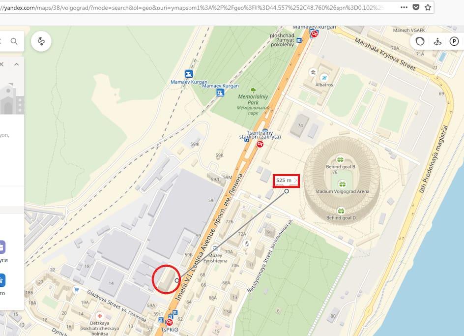 500 metres to stadium Volgograd Arena