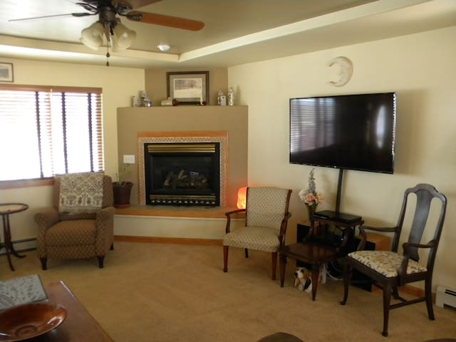 Fireplace and extra seating in family room