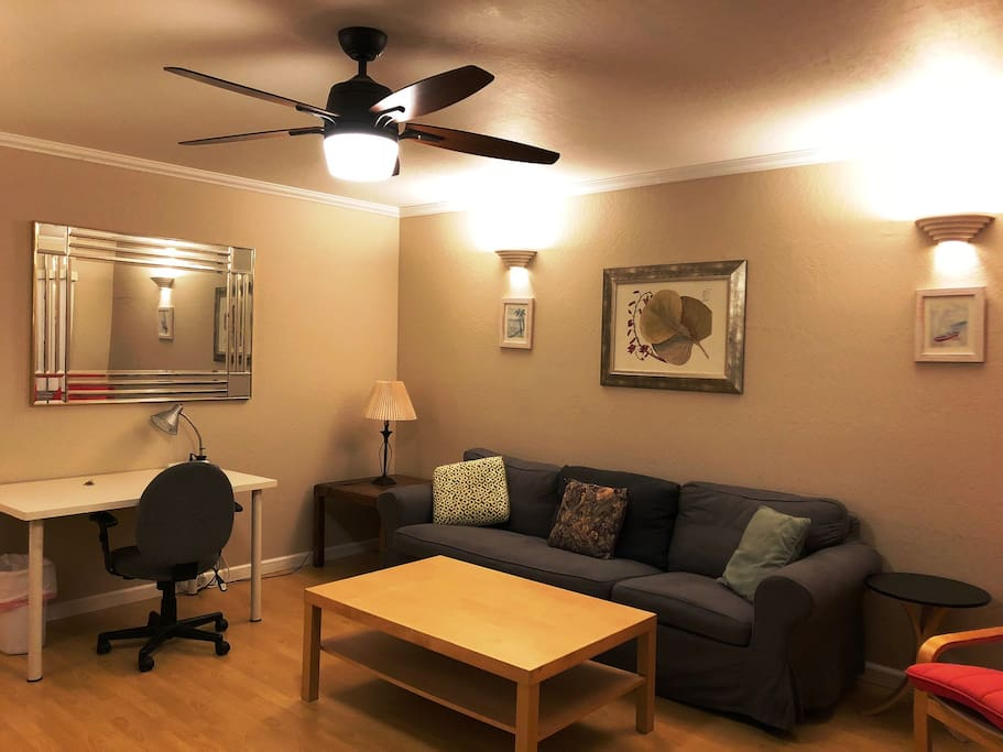 LR with desk and ceiling fan