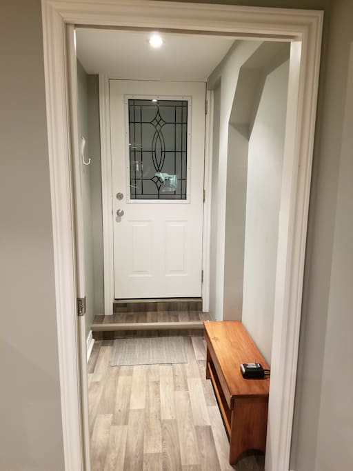 Separate entrance into the guest suite from the outside.