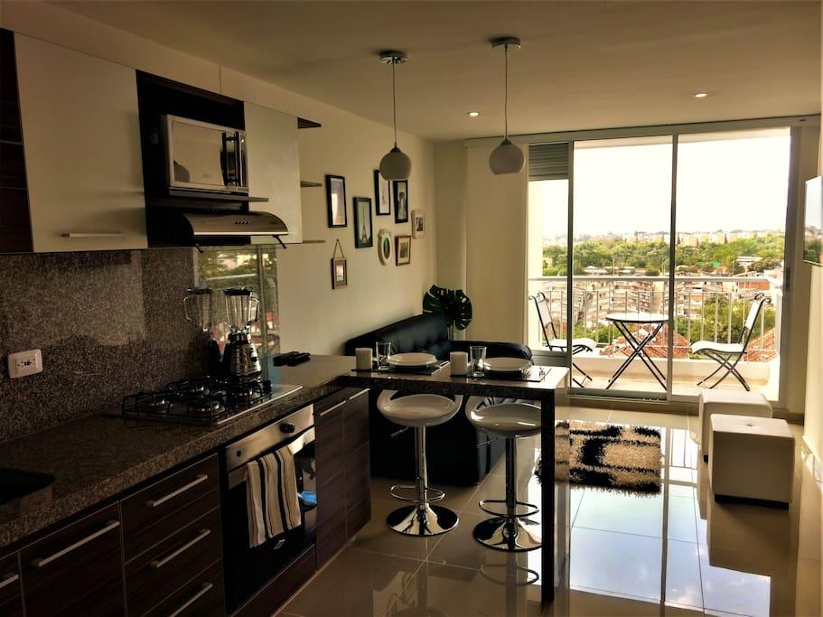 Vista del apartamento desde la cocina social
