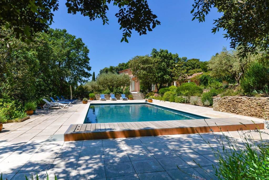 Pool surrounded with beautiful provencal vegetation