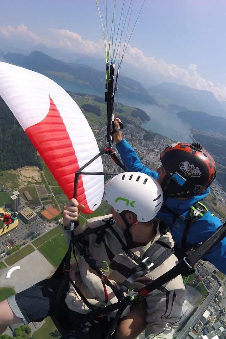 Fun with friends above Lucerne City