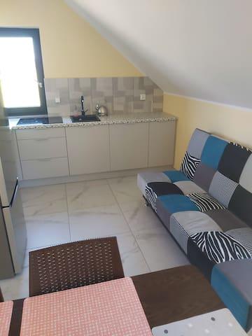 Kuchnia z salonem  apartament na piętrze